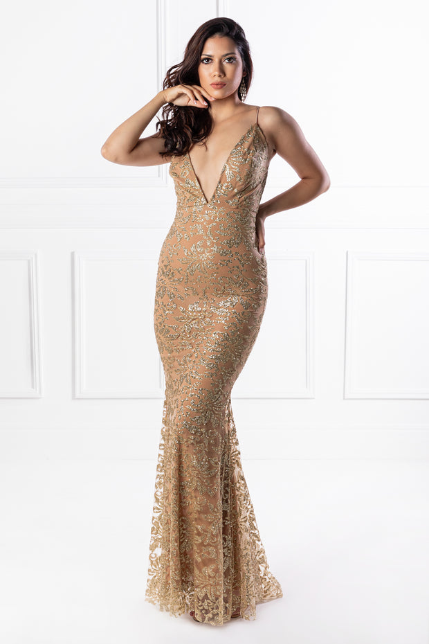 Honey Couture ETTA Gold Lace & Glitter Overlay Mermaid Formal Gown Dress {vendor} AfterPay Humm ZipPay LayBuy Sezzle