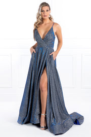 Honey Couture TAHLIA Blue Glitter Fabric Custom Made Formal Dress