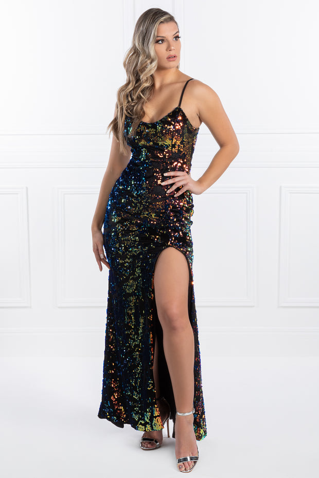 Honey Couture PAULINA Multi Colour Sequin Formal Evening Gown Dress