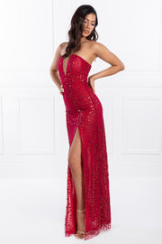 Honey Couture EMILYA Red Strapless Glitter Overlay Evening Gown Dress