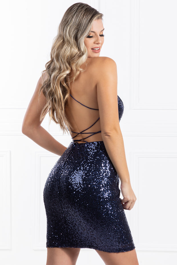 The RENEE Navy Blue Sequin Corset Lace Up Mini Dress