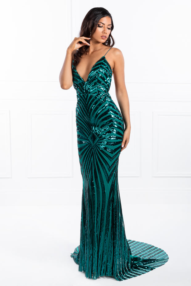 Honey Couture TILDA Emerald Green Low Back Sequin Formal Gown Dress