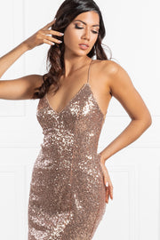 The RENEE Gold Sequin Corset Lace Up Mini Dress