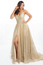 Honey Couture AVA Gold Glitter Sparkle Ball Gown Formal Dress