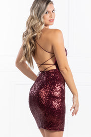 The RENEE Burgundy Sequin Corset Lace Up Mini Dress