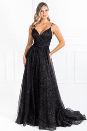 Honey Couture AVA Black Glitter Sparkle Ball Gown Formal Dress