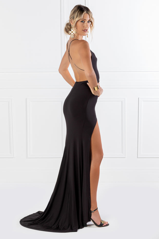 Honey Couture CIARA Black Low Back Formal Dress {vendor} AfterPay Humm ZipPay LayBuy Sezzle