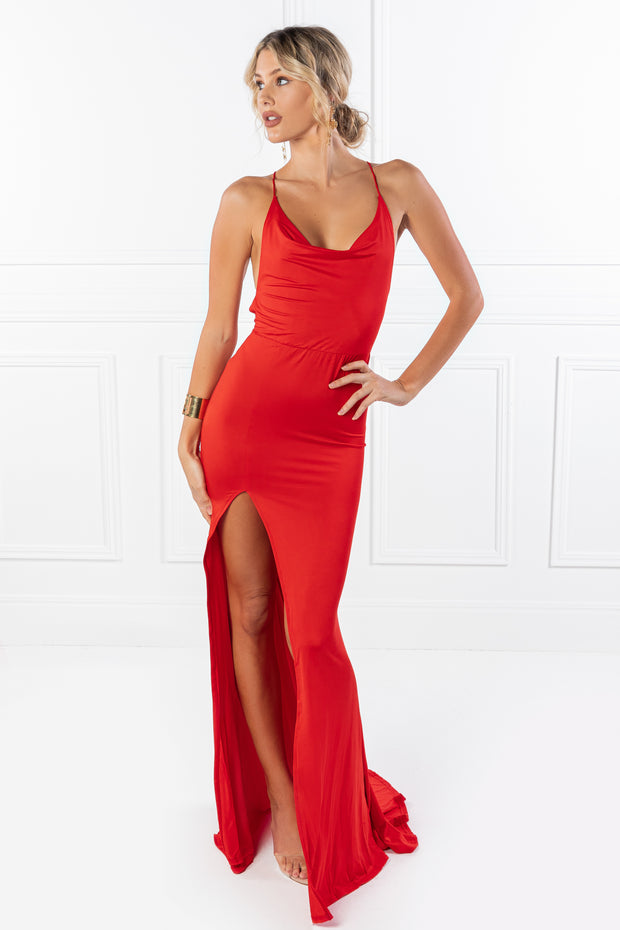 Honey Couture CIARA Red Low Back Formal Dress {vendor} AfterPay Humm ZipPay LayBuy Sezzle