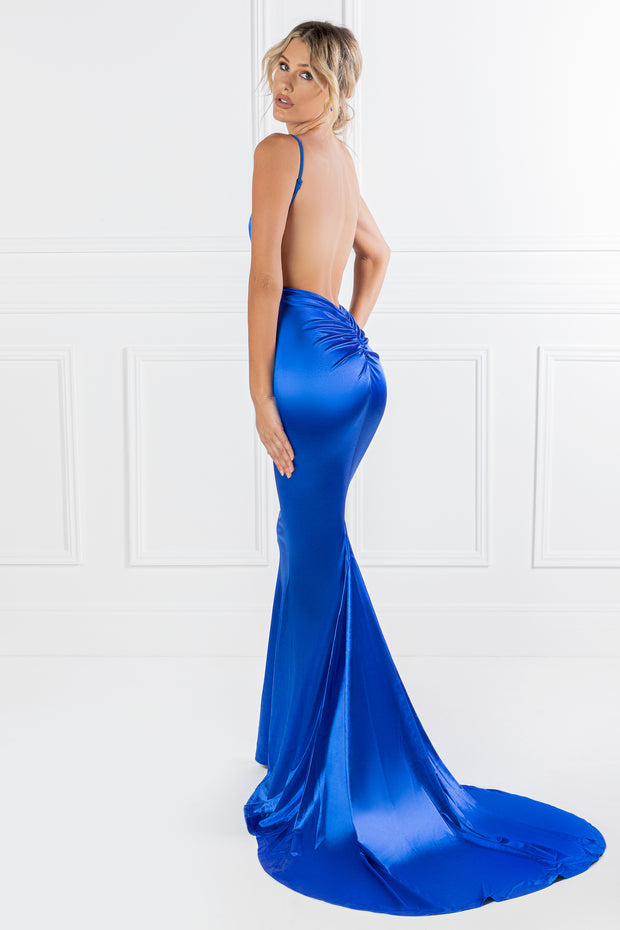 Honey Couture MILEE Blue Low Back Mermaid Evening Gown Dress {vendor} AfterPay Humm ZipPay LayBuy Sezzle