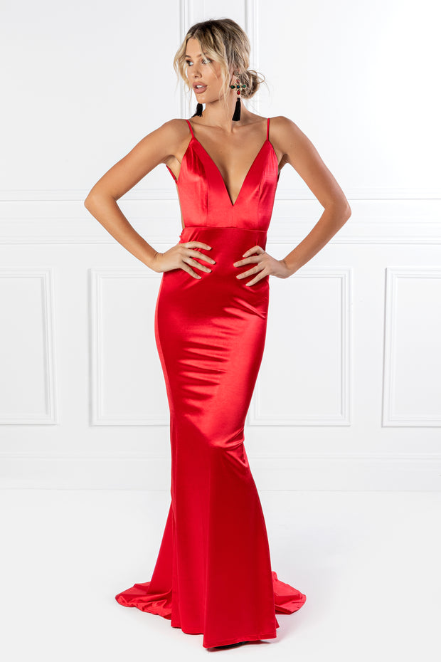 Honey Couture MILEE Metallic Red Low Back Mermaid Evening Gown Dress {vendor} AfterPay Humm ZipPay LayBuy Sezzle