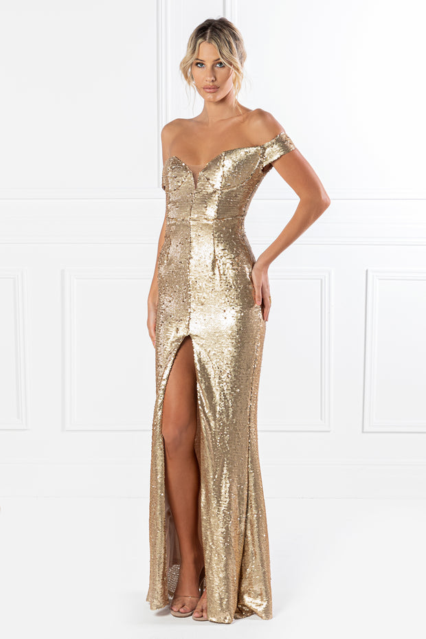 Honey Couture CONTESSA Gold Sequin Off Shoulder Mermaid Formal Dress {vendor} AfterPay Humm ZipPay LayBuy Sezzle