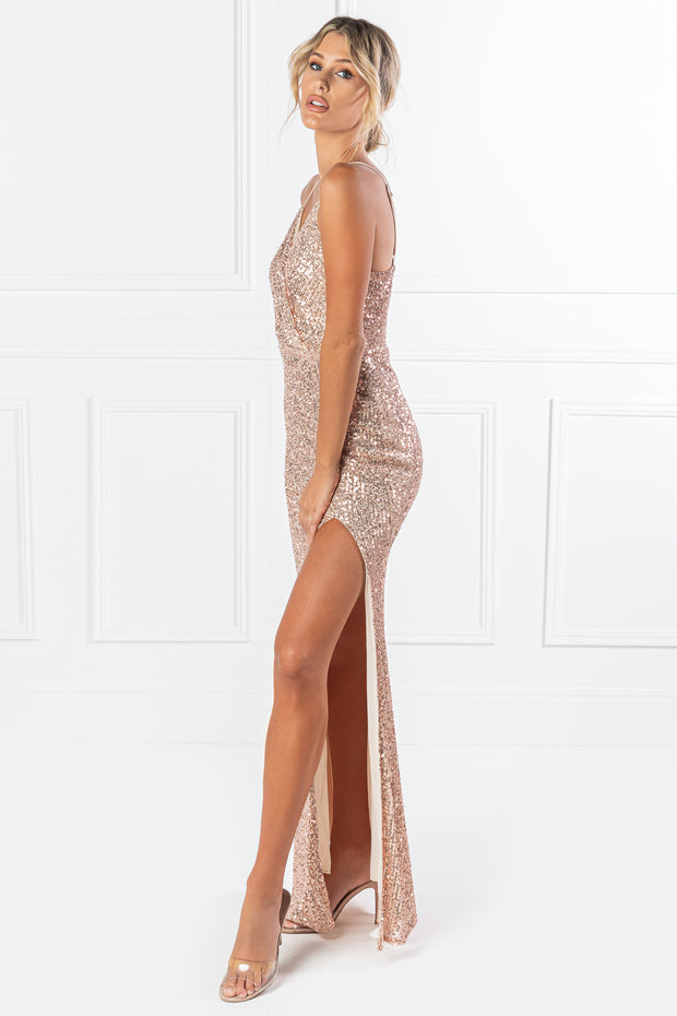 Honey Couture PEYTON Gold Sequin Mermaid Formal Dress {vendor} AfterPay Humm ZipPay LayBuy Sezzle