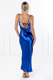 Honey Couture EVELYN Blue Silky Slip Formal Dress {vendor} AfterPay Humm ZipPay LayBuy Sezzle