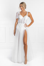Honey Couture APRIL White Tulle Glitter Bodysuit Formal Dress Honey Couture Custom$ AfterPay Humm ZipPay LayBuy Sezzle