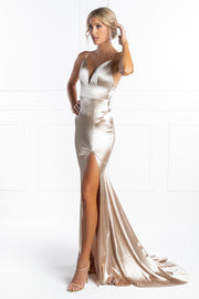 Honey Couture AISHA Silver Low Back Mermaid Evening Gown Dress Honey Couture$ AfterPay Humm ZipPay LayBuy Sezzle