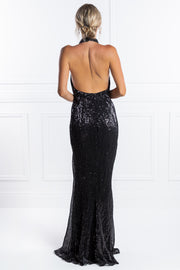 Honey Couture OAKLEY Black Sequin Halter Formal Gown Dress Honey Couture$ AfterPay Humm ZipPay LayBuy Sezzle