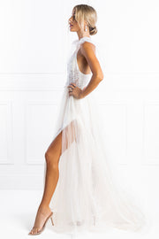 Honey Couture PEARLA White Tulle Bodysuit Formal Dress Honey Couture Custom$ AfterPay Humm ZipPay LayBuy Sezzle