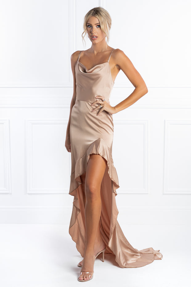Honey Couture EVON Nude Ruffle Satin Evening Gown Dress Honey Couture$ AfterPay Humm ZipPay LayBuy Sezzle
