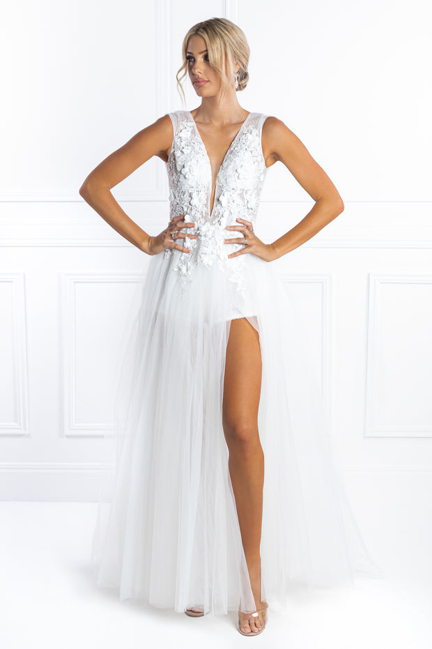 Honey Couture SERENITY White Tulle Sequin Bodysuit Formal Dress Honey Couture Custom$ AfterPay Humm ZipPay LayBuy Sezzle