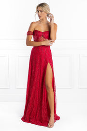 Honey Couture MARA Red Glitter One Sleeve Evening Gown Dress Honey Couture$ AfterPay Humm ZipPay LayBuy Sezzle