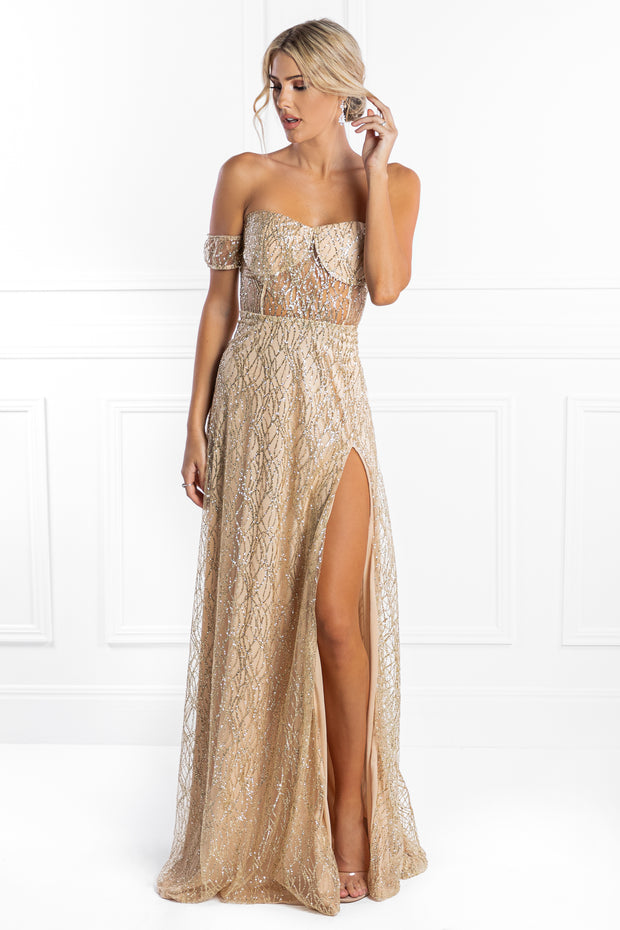 Honey Couture MARA Gold Glitter One Sleeve Evening Gown Dress Honey Couture$ AfterPay Humm ZipPay LayBuy Sezzle