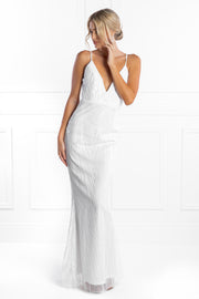 Honey Couture JAYLEN White Sequin Low Back Evening Gown Dress Honey Couture$ AfterPay Humm ZipPay LayBuy Sezzle