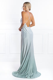 Honey Couture JEWELLA Ombré Silver Green Formal  Dress Honey Couture Custom$ AfterPay Humm ZipPay LayBuy Sezzle