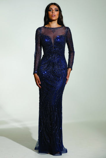 Tinaholy Couture P17130 Blue Beaded Mesh Sleeve Formal Gown Prom DressTinaholy CoutureOne Honey Boutique AfterPay OxiPay ZipPay