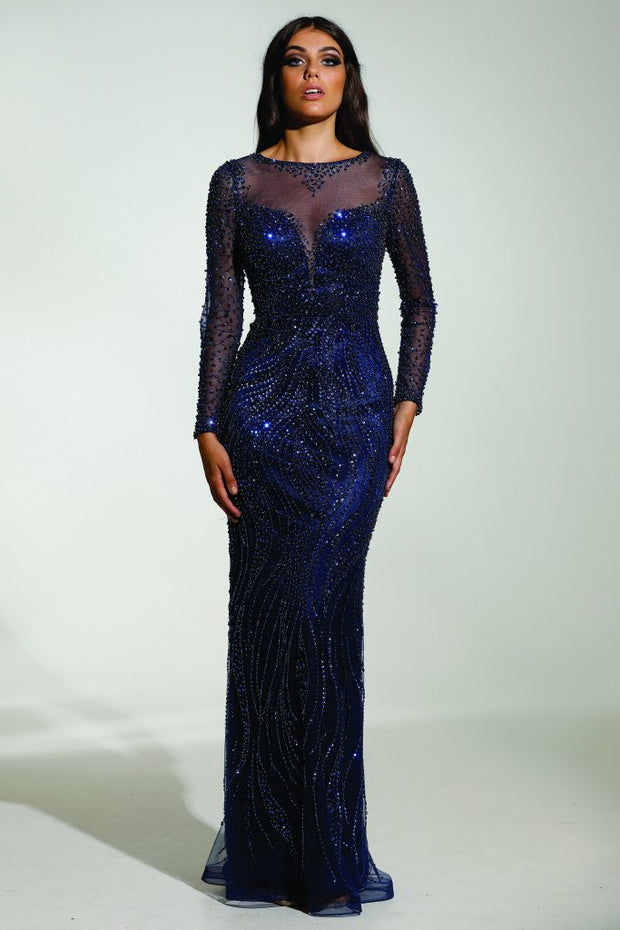Tinaholy Couture P17130 Blue Beaded Mesh Sleeve Formal Gown Prom Dress Tina Holly Couture$ AfterPay Humm ZipPay LayBuy Sezzle