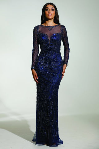 Tinaholy Couture P17130 Blue Beaded Mesh Sleeve Formal Gown Prom Dress
