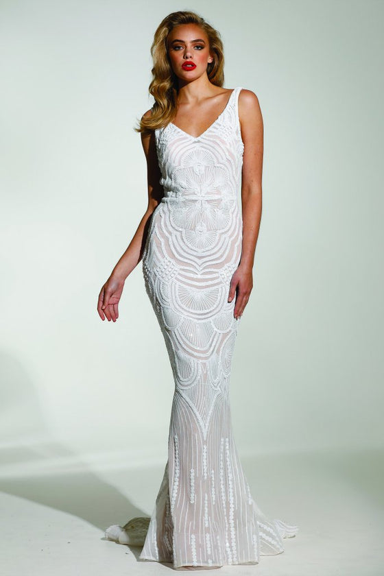 Tinaholy Couture Picasso P1732 White & Nude Sequin Mermaid Formal Gown