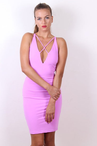 Sexy STELLA Purple Strappy Bodycon Dress