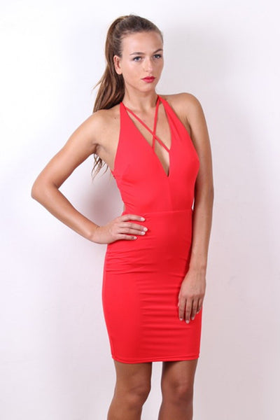 Sexy STELLA Red Strappy Bodycon Dress