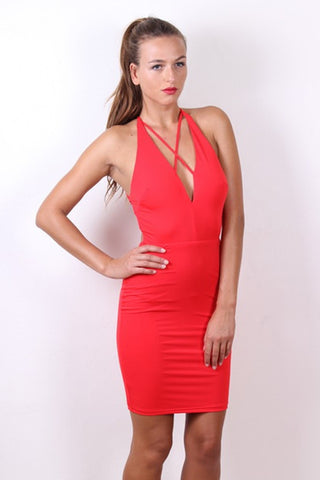 Sexy STELLA Red Strappy Bodycon Dress Passion Fusion One Honey Boutique AfterPay ZipPay OxiPay Sezzle Free Shipping