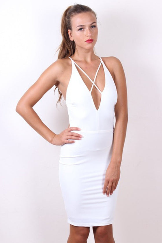 Sexy STELLA White Strappy Bodycon Dress Passion Fusion One Honey Boutique AfterPay ZipPay OxiPay Laybuy Sezzle Free Shipping