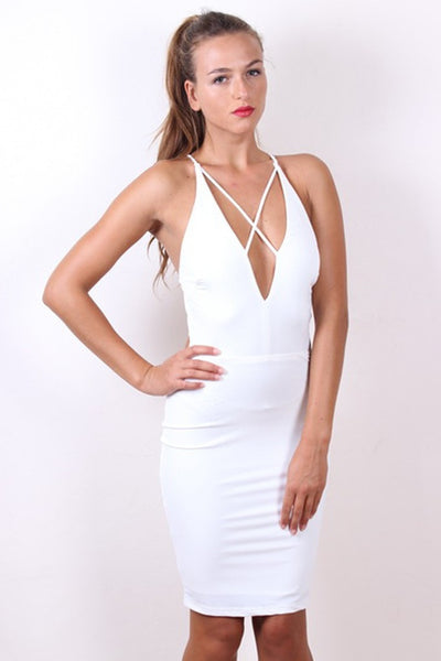 Sexy STELLA White Strappy Bodycon Dress