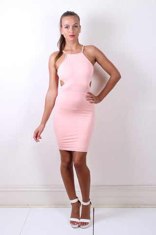 Sexy ELLA Baby Pink Halter Neck Cut Out Dress Passion Fusion One Honey Boutique AfterPay ZipPay OxiPay Sezzle Free Shipping