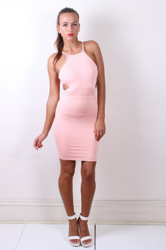 Sexy ELLA Baby Pink Halter Neck Cut Out Dress Passion Fusion One Honey Boutique AfterPay ZipPay OxiPay Laybuy Sezzle Free Shipping