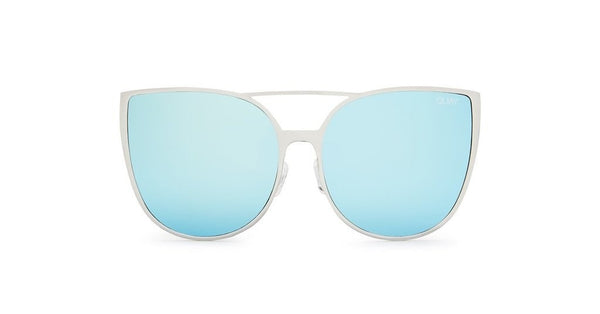 Quay Australia SORORITY PRINCESS Silver Blue Designer Sunglasses