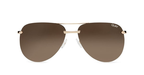 Quay Australia THE PLAYA Gold Brown Designer Sunglasses