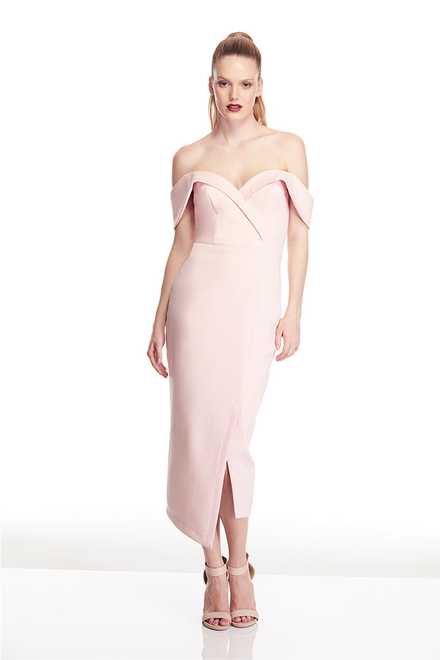 Tina Holly Couture Connelly R1767 Pink Off Shoulder Bridesmaids Midi Dress {vendor} AfterPay Humm ZipPay LayBuy Sezzle