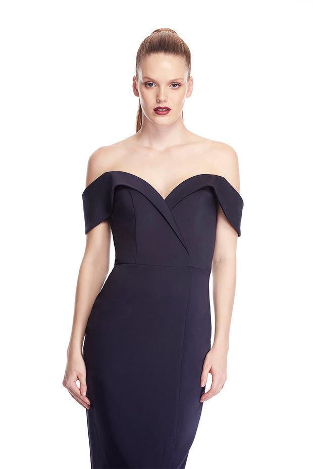 Tina Holly Couture Connelly R1767 Navy Blue Off Shoulder Bridesmaids Midi Dress {vendor} AfterPay Humm ZipPay LayBuy Sezzle