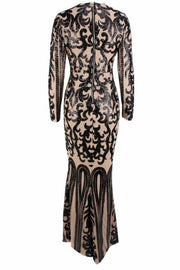 Honey Couture SIA Black & Nude Lace Long Sleeve Formal Gown Dress Honey Couture$ AfterPay Humm ZipPay LayBuy Sezzle