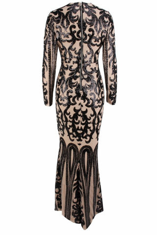 Honey Couture SIA Black & Nude Lace Long Sleeve Formal Gown Dress Honey Couture One Honey Boutique AfterPay ZipPay OxiPay Laybuy Sezzle Free Shipping
