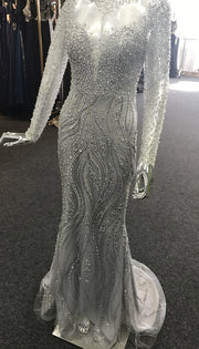 Tinaholy Couture T17130 Silver Beaded Mesh Sleeve Formal Gown Prom Dress {vendor} AfterPay Humm ZipPay LayBuy Sezzle