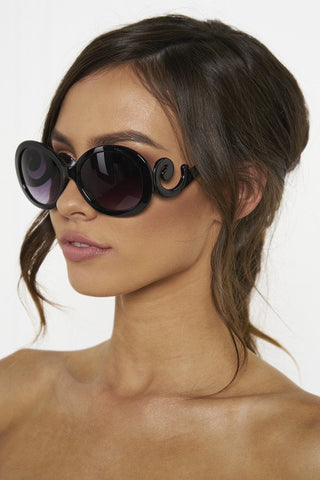 Honey Couture SWIRL Black Style Sunglasses Honey Couture One Honey Boutique AfterPay ZipPay OxiPay Laybuy Sezzle Free Shipping