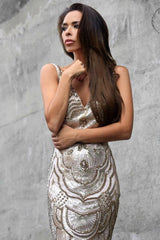Tinaholy Couture P1732 Gold Scalloped Sequin Formal Gown Dress