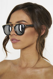 Honey Couture STACEY Gold & Black Frame Silver Reflective Sunglasses Honey Couture Sunglasses$ AfterPay Humm ZipPay LayBuy Sezzle