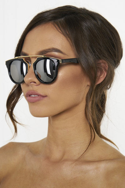Honey Couture STACEY Gold & Black Frame Silver Reflective Sunglasses