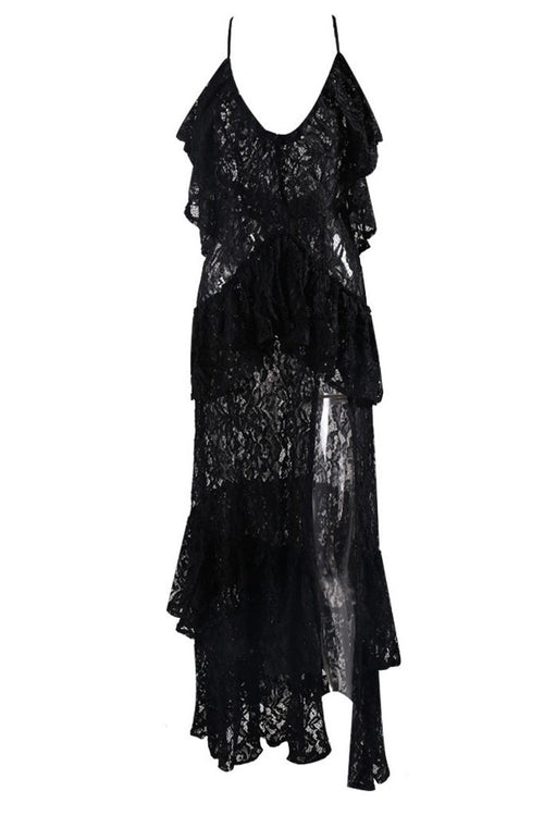 Honey Couture ANGELICA Black Lace Peplum Maxi Dress Australian Online Store One Honey Boutique AfterPay ZipPay